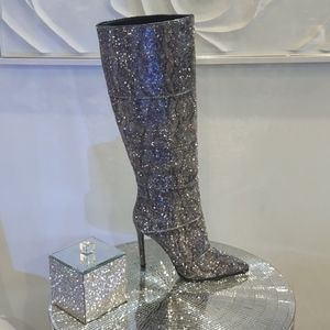 STEVE Madden Olga Rhinestone Knee High Boots 7 1/2